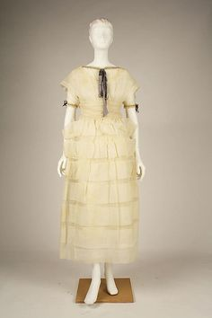 Dress, Afternoon Attributed to Jeanne Lanvin (French, 1867–1946) Maker: Henri Bendel (American, founded 1895) Date: 1919 Culture: French Medium: cotton, silk Dimensions: Length at CB: 45 in. (114.3 cm)