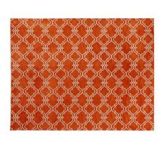 Scroll Tile Rug - Orange | Pottery Barn