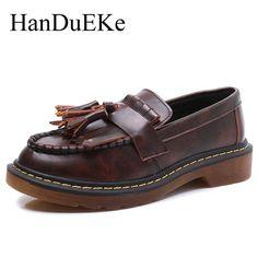 52.92$  Watch now - HanDuEKe New 2017 Autumn Fashion Women Casual Shoes British Style Women Pumps Tassel Ladies High Heels Leather Shoes Woman  #buyonline