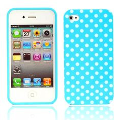 Little White Dots Design Silicone Case for iPhone 4 Blue
