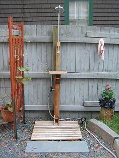 single post shower design for backyard