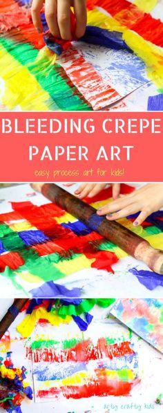 Bleeding Crepe Paper Art - Easy process art for kids. #processart #kidsart #artykids #painting