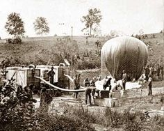 This is another picture of Professor Lowe's work in the Civil War. This photograph shows the activities associated with inflating his ball...