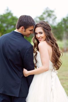 Gorgeous long wedding hair accented with a braid. #bridal #hairstyle