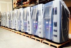 A row of Robocoins #Bitcoin ATMs Bitcoin Mining Rigs, What Is Bitcoin Mining, Money Machine, Buy Bitcoin, Crypto Currencies, Business Opportunities, Blockchain, Are You The One, Investing