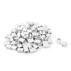 UXCELL 3 Mm Diámetro de Alambre de Acero Cuerda Aluminio Virolas de Cable Crimps Mangas Clip Fittings 100 Unids