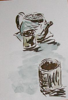 Cup and Pot in Sumi-e