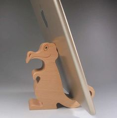 Wooden Dinosaurs Shaped Mobile Phone iPad Holder Stand