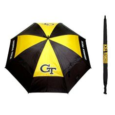 "NCAA Georgia Tech University Team Golf Umbrella by Team Golf. $25.00. -1. Double canopy wind protection design. 62"" Umbrella. Auto open button. 100% nylon fabric. Keep dry while showing off your school spirit with this officially licensed NCAA® team umbrella from Team Golf. The 62"" umbrella boasts a double canopy design and an auto-open mechanism. The team logo boldly adorns the umbrella and the included sheath."