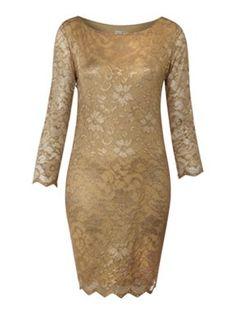 £45 John Zack Long sleeve metallic lace dress Gold - House of Fraser