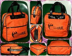 Bolso mano naranja, Valencia. Vintage 70s Canvas Hand/Sport/Messenger Bag. Indie