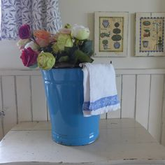 Enamelled blue bucket, Metal container, vintage, plate, bowl, brocante, container ,retro kitchen,
