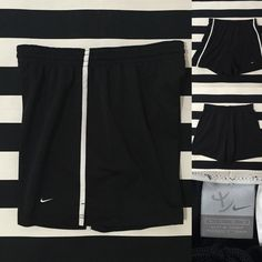 "Nike women's athletic shorts sz M ⚽️ Nike women's athletic shorts sz M ⚽️good used condition, black with white stripe detail and swoosh, unlined shorts, elastic drawstring waistband, length/inseam 4"", material is polyester⚽️ See other Nike and athletic listings in my closet⚽️ Nike Shorts"