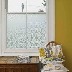 DARJEELING DECORATIVE WINDOW FILM. A pretty way to frost your windows. Not on the high st.