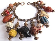 RARE Vintage 1930s Miriam Haskell Asian Chinese Themed Wood Bone Charm Bracelet | eBay