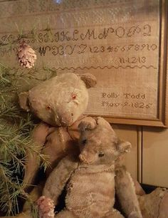 My two favorite friends Old Teddy Bears, Antique Teddy Bears, My Teddy Bear, Primitive Crafts, Primitive Christmas, Vintage Christmas, Rustic Christmas, My Bebe, Love Bear
