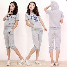 新款外贸夏季AF运动套装女式纯棉连帽AF七分裤套装 灰色-淘宝网