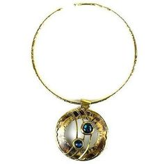 Ripple Effect Paua Shell and Brass Pendant Necklace Handmade and Fair Trade