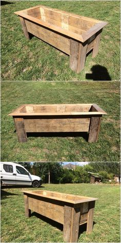 Here comes the trendy setting of the planter box in the extraordinary creation of the wood pallet flavor. It might small in size but trust me, it would look so unique as you will make it place straight away in your house garden areas. Recycled Furniture, Pallet Furniture, Furniture Making, Recycled Wood, Furniture Ideas, Outdoor Furniture, Woodworking Planes, Woodworking Workbench, Workbench Plans
