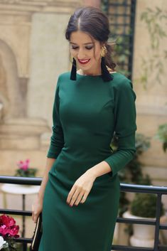 Mermaid prom dress long sleeve party dress backless dress green fashion dess Alison Dress - Green Dresses - Ideas of Green Dresses Prom Dresses Long With Sleeves, Simple Dresses, Elegant Dresses, Pretty Dresses, Casual Dresses, Short Dresses, Wrap Dresses, Sexy Dresses, Outfits