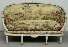 Eye For Design: Decorating With French Tapestry Upholstered Settees, Sofas, and Canapes Inexpensive Furniture, Cheap Furniture, Unique Furniture, Rustic Furniture, Luxury Furniture, Bedroom Furniture Sets, Upholstered Furniture, Home Decor Furniture, Furniture Design