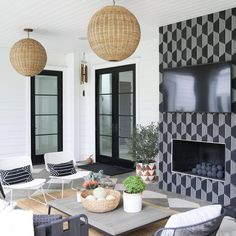 Cement Tile Shop - Dale Hex Pattern - It's Sunday! Time to take advantage of the beautiful summer weather by spending time outdoors. Love this design by @coletteluesebrink utilizing the Dale Hex pattern. . . Outdoor living room done right! This house is ready for all the summer fun right here. Photo: @jesspirrophoto Outdoor Spaces, Outdoor Living, Cement, Summer Fun, Backyard, Living Room, Tile, House, Beautiful