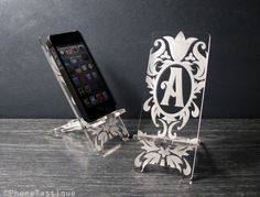 Personalized Initial Monogram Damask Alphabet iPhone 5 Phone Stand Docking Station. $24.00, via Etsy.