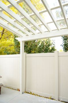 This pergola is gorgeous! See the complete plans for the DIY pergola and clear pergola roof.