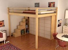 "loft bed: like the storage stairs and bed access is on the ""inside"" in the corner of the walls."