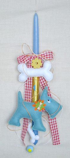 Greek easter candle Greek Easter, Baby Christening, Easter Crafts, Easter Bunny, Diy And Crafts, Easter Candle, Candles, Christmas Ornaments, Holiday Decor