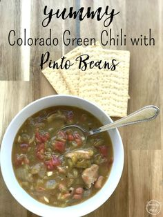 AD: This spin on Colorado pork green chili by adding pinto beans is perfect for chilly nights when you need to warm up. It's great over rice or by itself. #bushsbeansfallflavors via @wdcornelison
