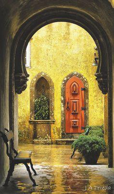 This Ivy House — wanderthewood: Sintra, Lisbon, Portugal. Sintra Portugal, Spain And Portugal, Portugal Travel, Ivy House, Mellow Yellow, Doorway, Windows And Doors, Front Doors, Belle Photo