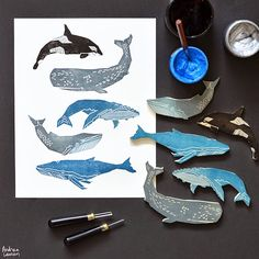 Andrea Lauren: Whales Block Prints by Andrea Lauren