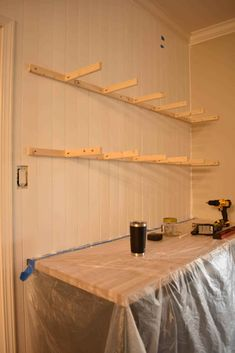How To Make Floating Shelves, Floating Shelf Brackets, Wood Brackets, Diy Wood Shelves, Bar Shelves, Kitchen Shelves, Pantry Shelving, Butcher Block Countertops, Wood Pieces