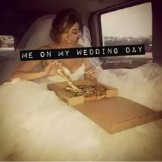 I can totally see this being my bf and I on our wedding day lol pepperoni pizza please!! Lol