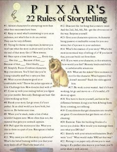 """""""Pixar's 22 Rules of Storytelling."""" compiled by Beau Chevassus  Some brilliant ideas compiled into a graphic.  (great tips for #webinarway presentations)"""