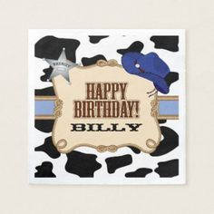 Shop Cowboy Birthday Party, Custom Napkins created by MetroEvents.
