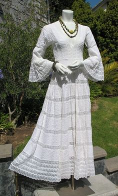 Cool Phenomenal Deep V sheer lace Mexican Wedding Dress bell sleeves Vintage boho white cotton long gown