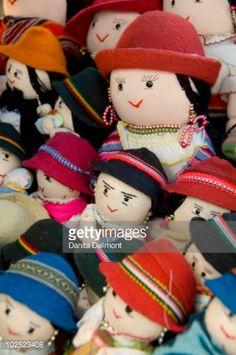 Stock Photo : Typical Ecuadorian hand made dolls in traditional clothing, Otavalo Market, Otavalo, Imbabura Province, Ecuador