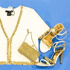 Knit Bolero Jacket White knit bolero jacket with gold sequins trim. Willi Smith Jackets & Coats