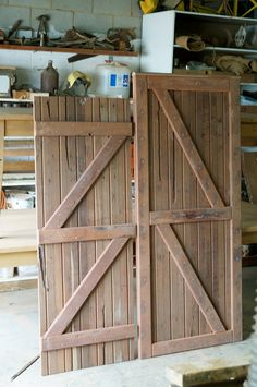 Made to measure shed door and pedestrian gate. Raw Furniture, Rustic Furniture, Furniture Making, Shed Doors, Side Garden, Garden Gates, South Australia, Farmhouse Table, Tall Cabinet Storage