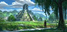 An early concept I did of Murkmire for the Elder Scrolls Online Aztec Ruins, Spaceship Art, Fantasy Art, Fantasy Art Landscapes, Ancient Cities, Art, Elder Scrolls, Digital Painting, Scenery