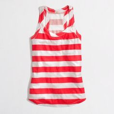 Cotton/Linen Striped Top | J. Crew Worn once. Excellent condition. Orange and white stripes. J. Crew Tops Tank Tops