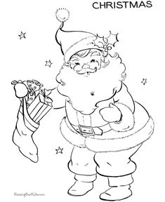 Simple Christmas Drawings Santa Clause Coloring Pages for Kids