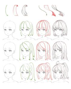 Flowing Anime Hair Reference A reference sheet top of how to draw anime flowing hair. Drawing Hair Tutorial, Manga Drawing Tutorials, Manga Tutorial, Drawing Techniques, Art Tutorials, Drawing Tips, Anatomy Tutorial, Painting Tutorials, Drawing Art