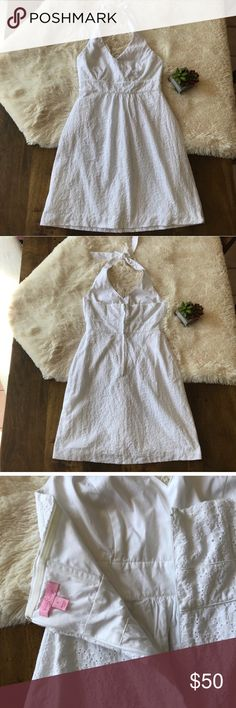 """[Lilly Pulitzer] Halter Eyelet Lace Dress [Lilly Pulitzer] Halter Eyelet Lace Dress Size 6 Flattering neck line No flaws, in like new condition 100% cotton Wasit 28"""", bust 33"""", length 36"""" (approximate) Lilly Pulitzer Dresses Mini"""