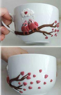 ABruxinhaCoisasGirasdaCarmita: Chávenas com aplicações