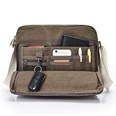 fc954d2f9da6 Urmiss Multifunction Versatile Canvas Messenger Bag Handbag Crossbody  Shoulder Bag Leisure Working Bag with Change Packets