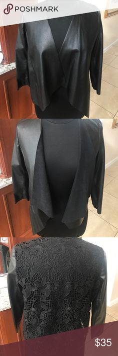 Zara black vegan leather&lace jacket Black vegan leather and lace design, 3/4 sleeve jacket, wear with a tank to a turtleneck underneath, jeans to a dress Zara Jackets & Coats