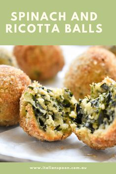 Our spinach and ricotta balls will make you feel like you're in Italy. Try cre… Our spinach and ricotta balls will make you feel like you're in Italy. Try creating this traditional Italian recipe today – you won't be disappointed! Veggie Recipes, Appetizer Recipes, Vegetarian Recipes, Dinner Recipes, Cooking Recipes, Healthy Recipes, Italian Food Appetizers, Italian Snacks, Savoury Recipes